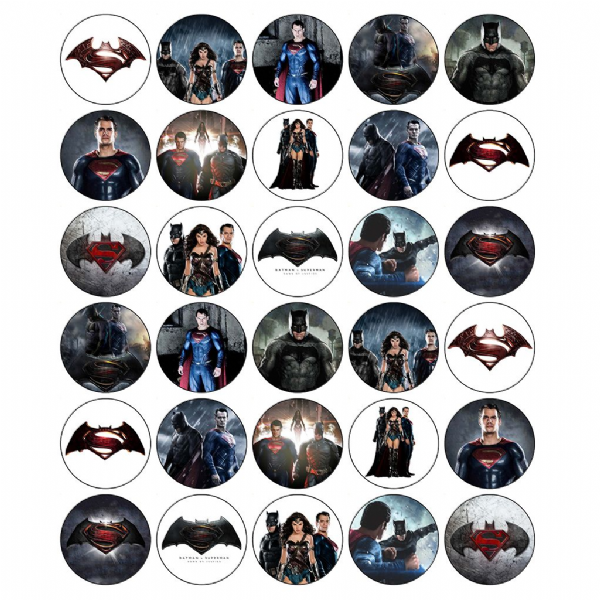 BATMAN vs SUPERMAN EDIBLE PRINTED CUPCAKE TOPPERS